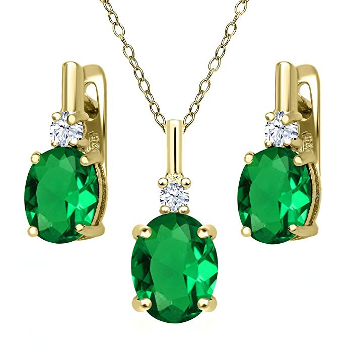 6.95 Ct Green Simulated Emerald White Created Sapphire 18K Yellow Gold Plated Silver Pendant Earrings Set