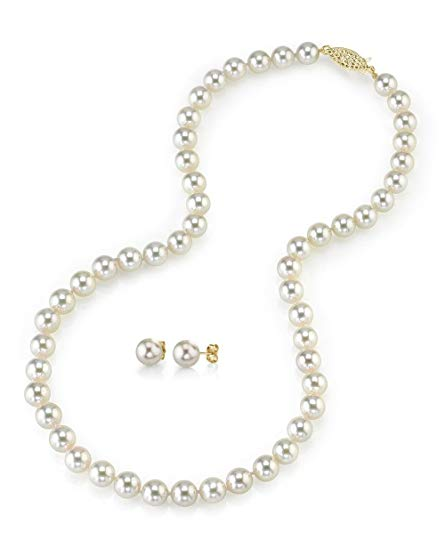 14K Gold White Akoya Cultured Pearl Necklace & Matching Earrings Set, 18