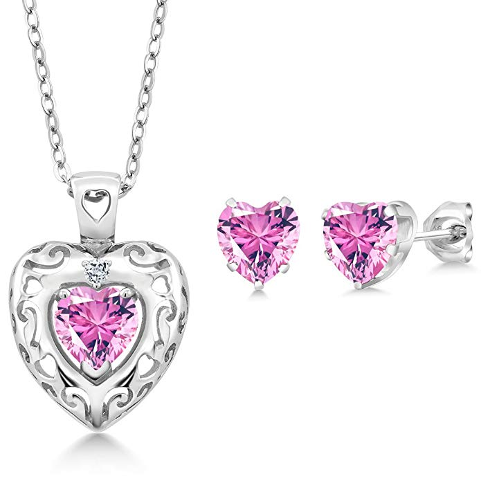 925 Sterling Silver Heart Pendant Earrings Set Made With Pink Swarovski Zirconia