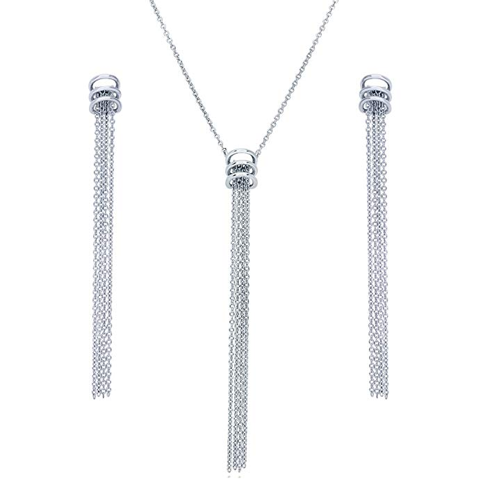 BERRICLE Rhodium Plated Sterling Silver Fringe Fashion Necklace and Earrings Set