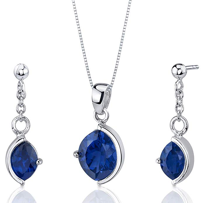 Created Sapphire Pendant Earrings Necklace Set Sterling Silver 6.00 Carats Marquise Cut