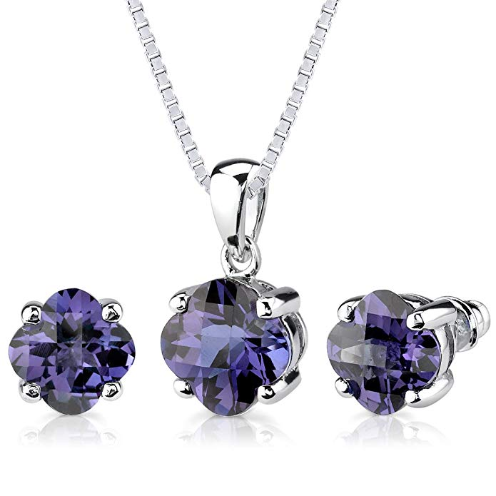 Simulated Alexandrite Pendant Earrings Set Sterling Silver 8.25 Carats Lily Cut