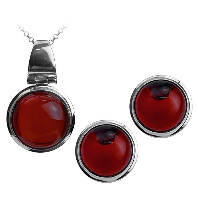 Sterling Silver Red Dark Amber Round Jewelry Set Earrings Necklace Chain 18 Inches