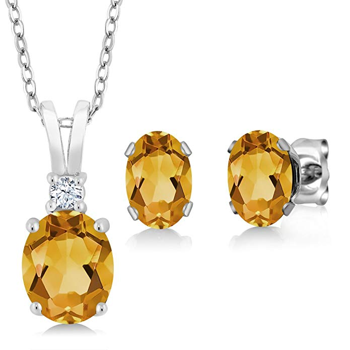 2.50 Ct Oval Yellow Citrine 925 Sterling Silver Pendant Earrings Set