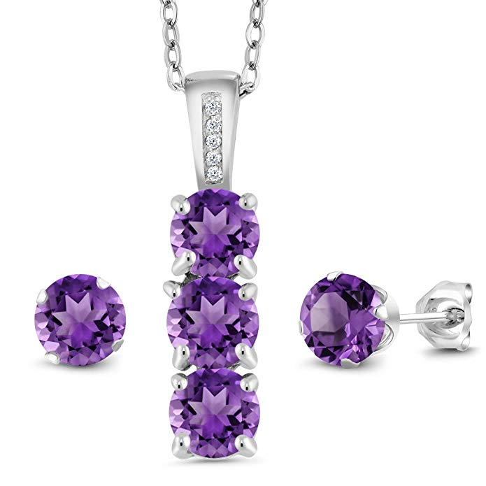 925 Sterling Silver Purple Amethyst & White Diamond Pendant Earrings Set, 2.29 Ctw with 18 Inch Silver Chain
