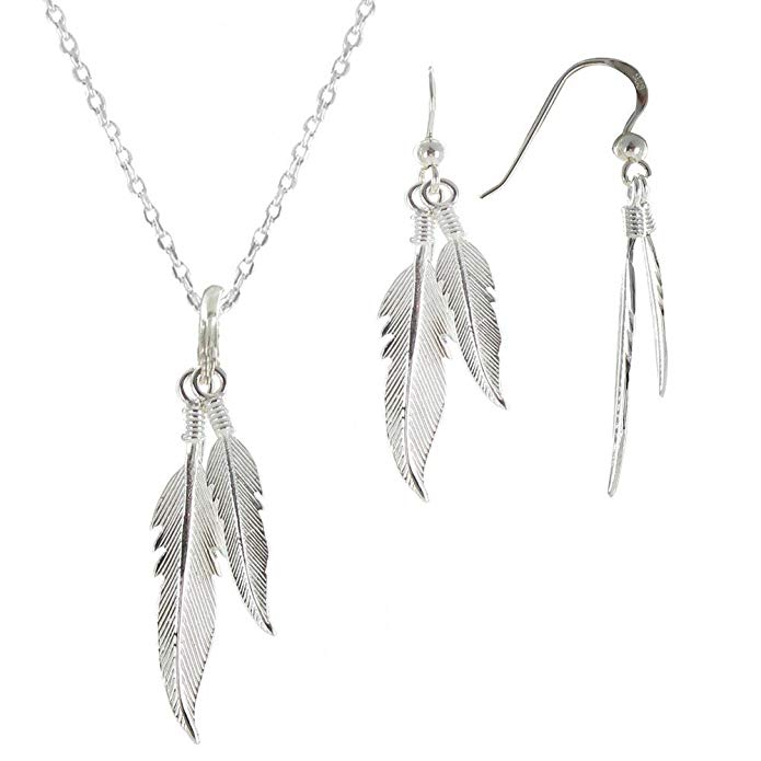 Les Poulettes Jewels Set Silver Feathers Necklace and Earrings