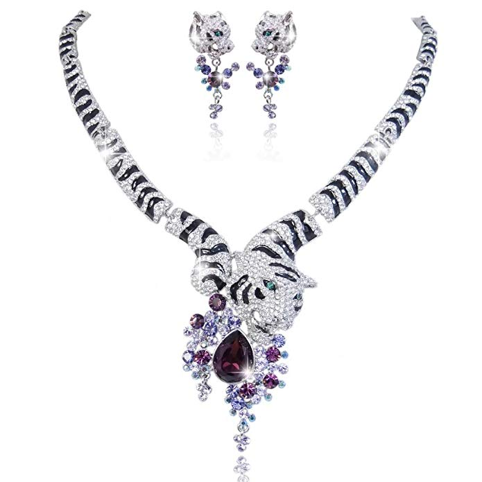 EVER FAITH Austrian Crystal Gorgeous Tiger Flower Teardrop Necklace Earrings Set