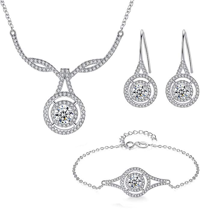 EVER FAITH 925 Sterling Silver CZ Elegant Knot Teardrop Pendant Necklace Earrings Bracelet Set Clear
