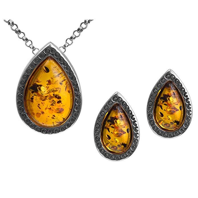 Amber Sterling Silver Teardrop Set Stud Earrings Pendant Necklace Chain 18