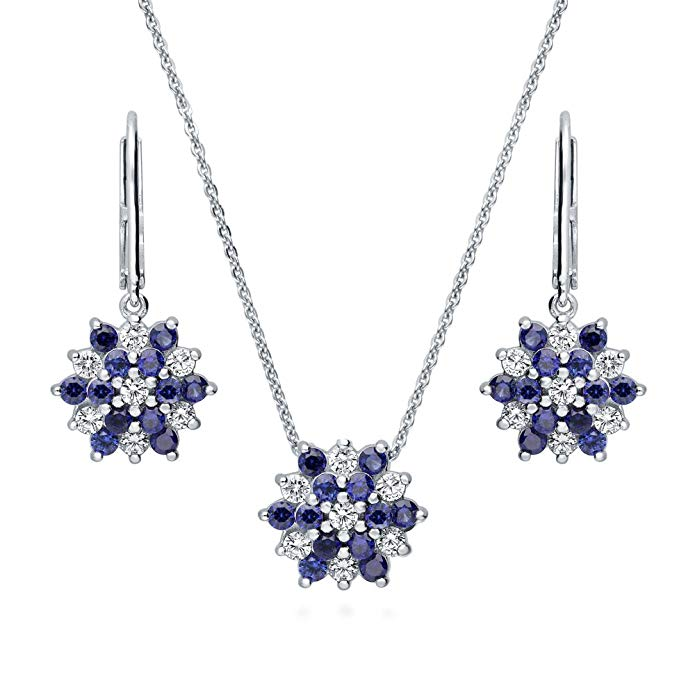 BERRICLE Rhodium Plated Sterling Silver Cubic Zirconia CZ Flower Necklace and Earrings Set