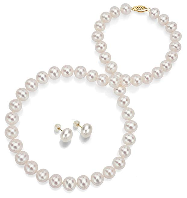 14k Yellow Gold 10-10.5mm White Freshwater Cultured Pearl Necklace 18