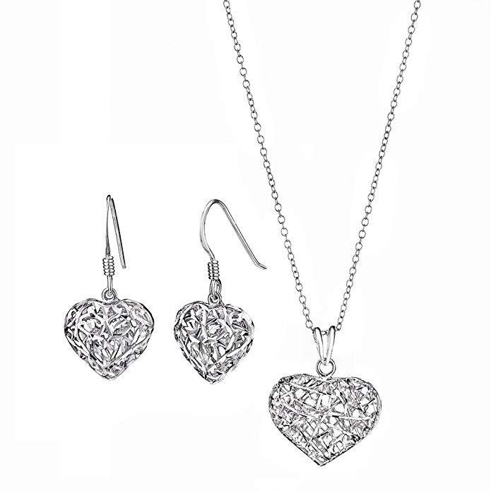 Gold and Honey 1995 G&H Sterling Silver Filigree Heart Drop & Dangle Earrings and Pendant Necklace Set