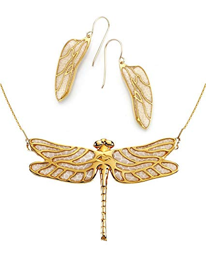 Gold Plated 925 Silver Dragonfly Necklace and Wing Earrings Polymer Clay Handmade Set, 16.5