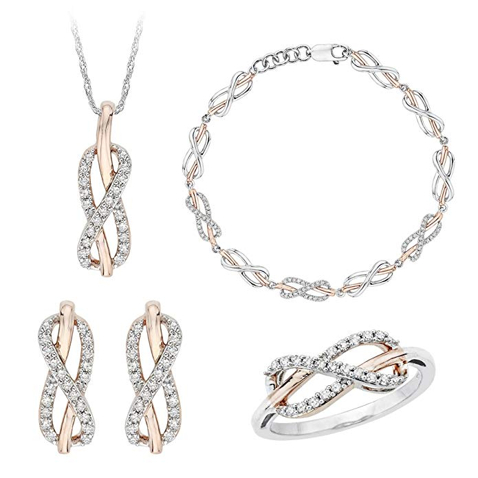Infinity Diamond Jewelry Set in Sterling Silver Two Tone (7/8 cttw)