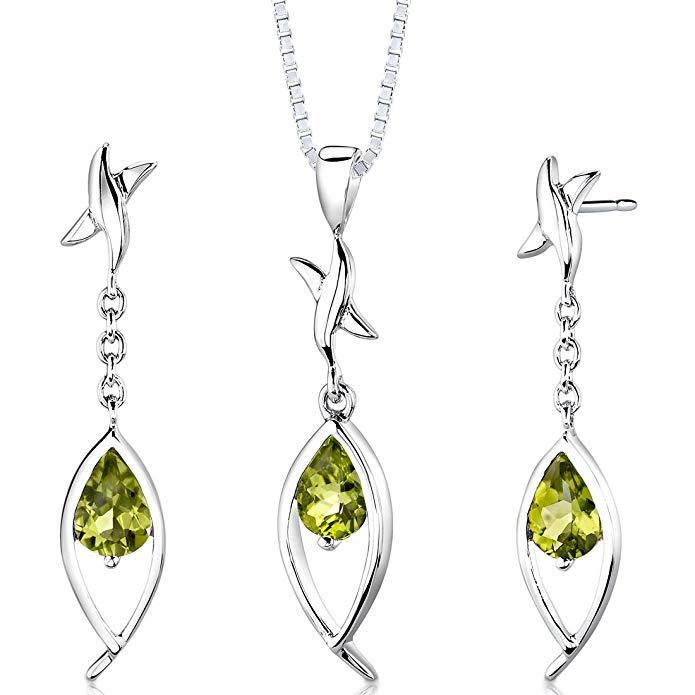 Peridot Tear Drop Pendant Earrings Necklace Sterling Silver Rhodium Nickel Finish Pear Shape