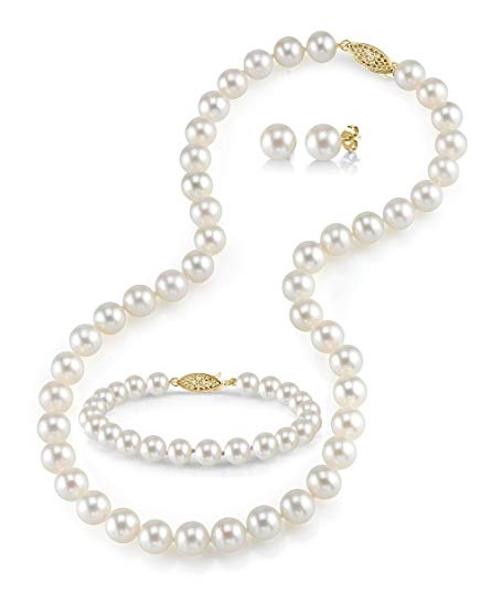 14K Gold 9-10mm White Freshwater Cultured Pearl Necklace, Bracelet & Earrings Set, 18