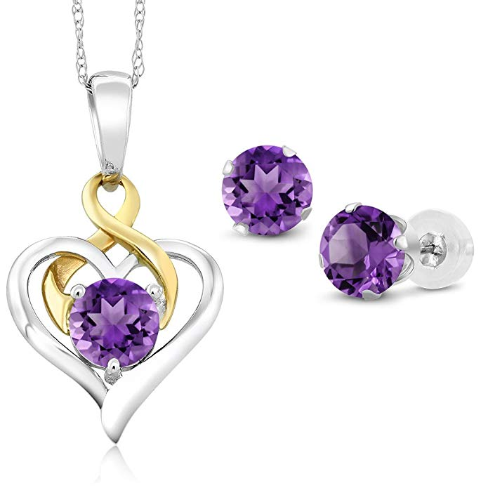 10K Two Tone Gold 1.85 Ct Round Purple Amethyst Pendant Earrings Set