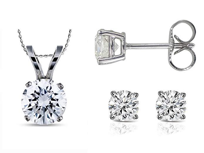 PARIKHS Round Diamond Pendant & Stud Set Promo Quality in White Gold (0.07 ctw, I3 clarity)