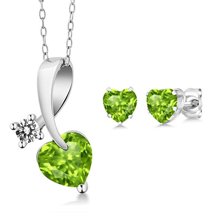 2.30 Ct Heart Shape Green Peridot and Diamond 925 Sterling Silver Pendant Earrings Set
