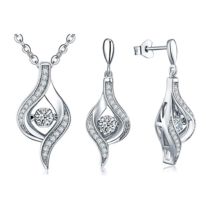 YL Sterling Silver Dancing Diamond Cubic Zirconia Jewelry Set with White Gold Plated 18+2