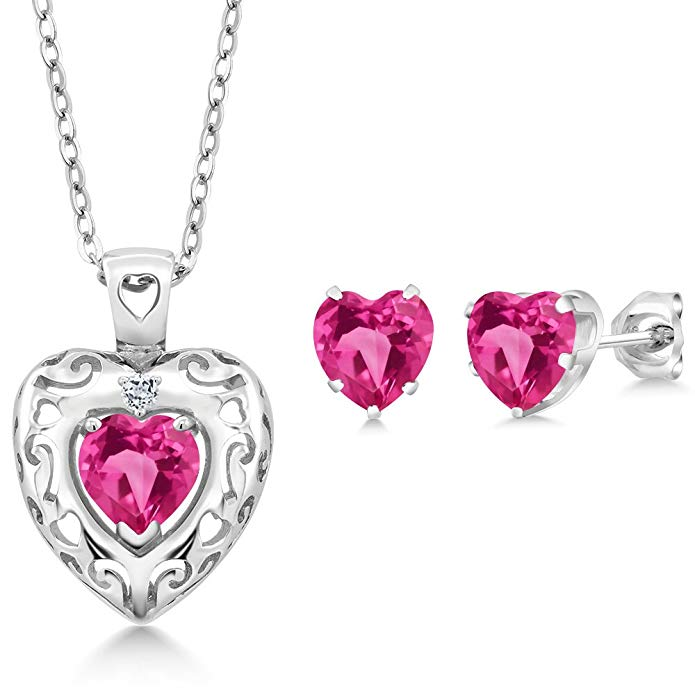 2.42 Ct Pink Created Sapphire White Topaz 925 Sterling Silver Pendant Earrings Set
