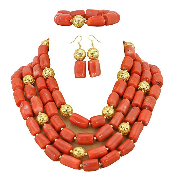 Africanbeads 4 Rows Pink Coral Beads Jewelry Sets, Nigerian Wedding Coral Beads Jewelry Set