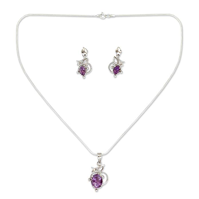 NOVICA Amethyst .925 Sterling Silver Rhodium Plated Jewelry Set 'Wisteria'