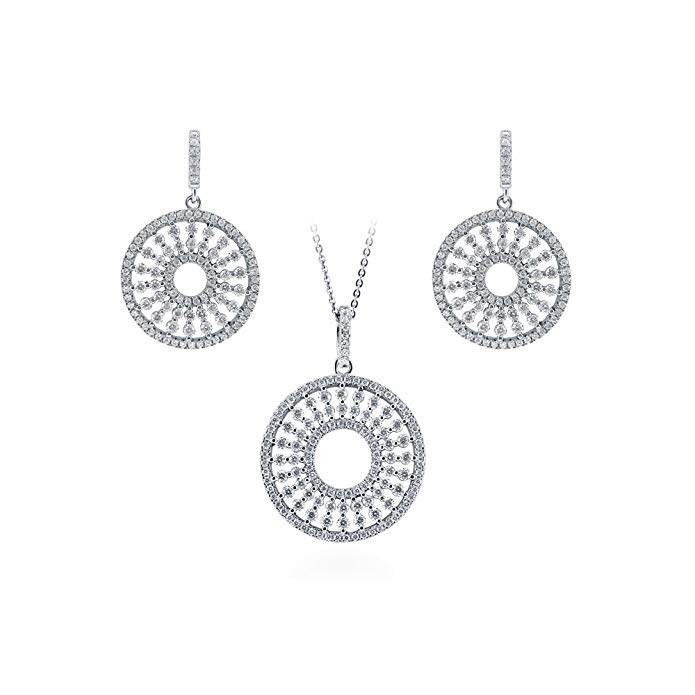 BERRICLE Rhodium Plated Sterling Silver Cubic Zirconia CZ Sun Open Circle Necklace and Earrings Set