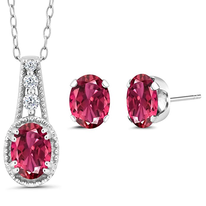 Sterling Silver Oval Pink Tourmaline Women's Pendant Earrings Set (1.93 cttw, With 18 Inch Chain)