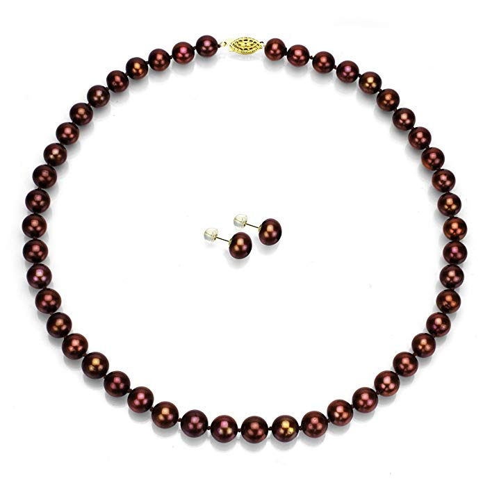 14k Yellow Gold 8-8.5mm Dyed-brown Freshwater Cultured Pearl Necklace 18