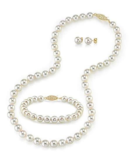 14K Gold 8.0-8.5mm White Akoya Cultured Pearl Necklace, Bracelet & Earrings Set, 18