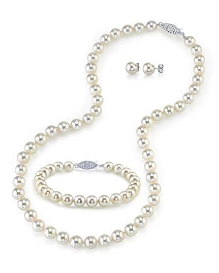 14K Gold 6.5-7.0mm White Akoya Cultured Pearl Necklace, Bracelet & Earrings Set, 18