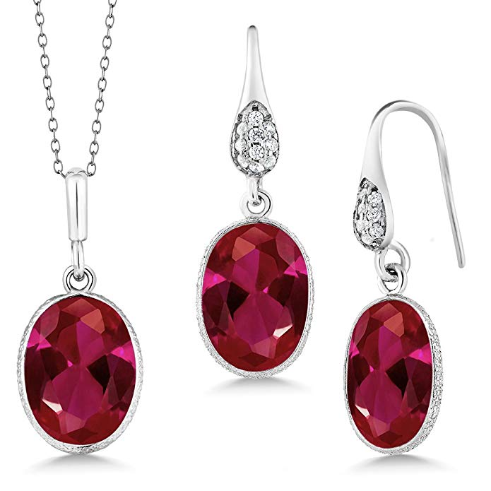 15.00 Ct Oval Red Created Ruby 925 Sterling Silver Pendant Earrings Set 18 Inch Chain