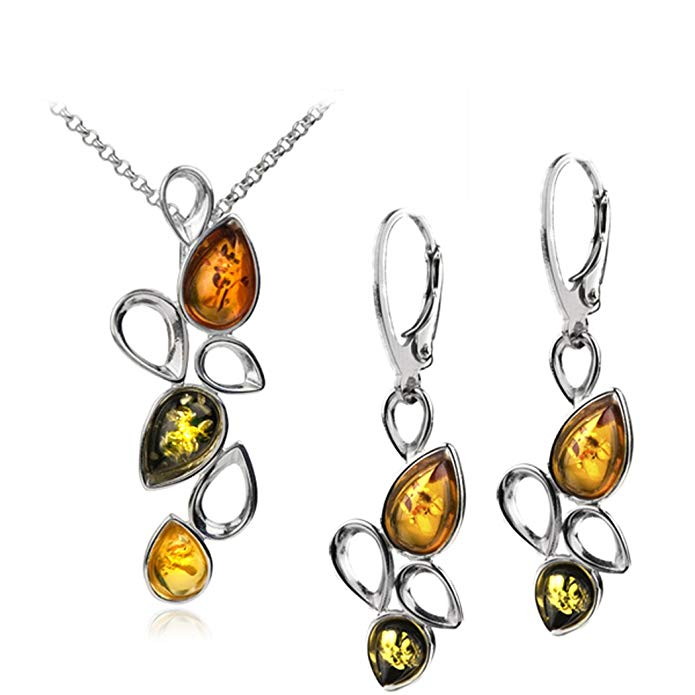 Sterling Silver Multicolor Amber Splashes Necklace 18 Inches Leverback Earrings Set