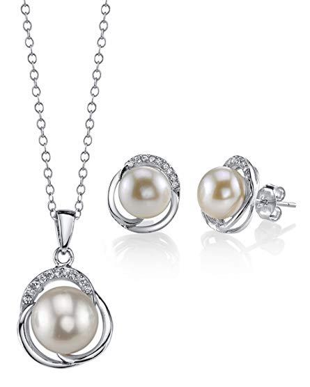 8mm & 9mm Freshwater Cultured Pearl & Cubic Zirconia Johnson Pendant & Earrings for Women