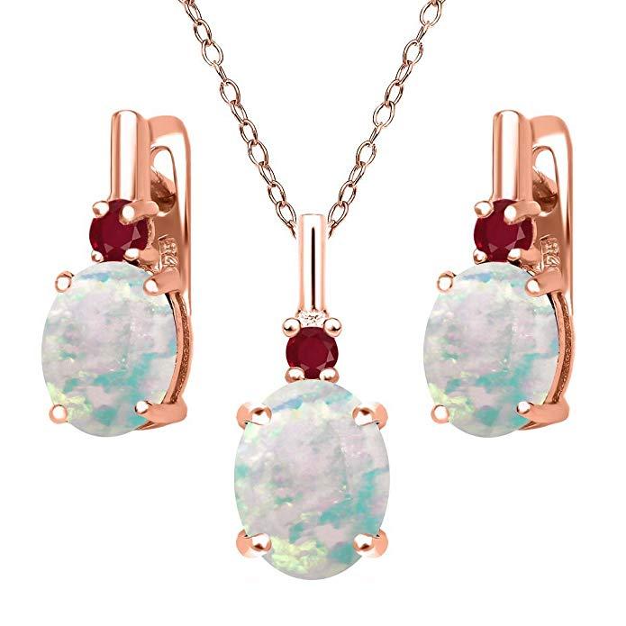 4.92 Ct Oval Cabochon White Simulated Opal Red Ruby 18K Rose Gold Plated Silver Pendant Earrings Set