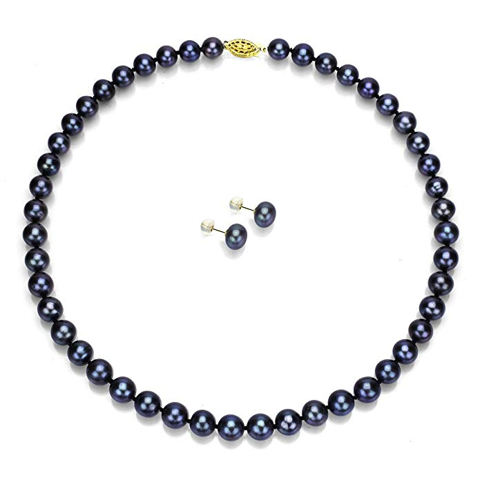 14k Yellow Gold 7-7.5mm Dyed-black Freshwater Cultured Pearl Necklace 18