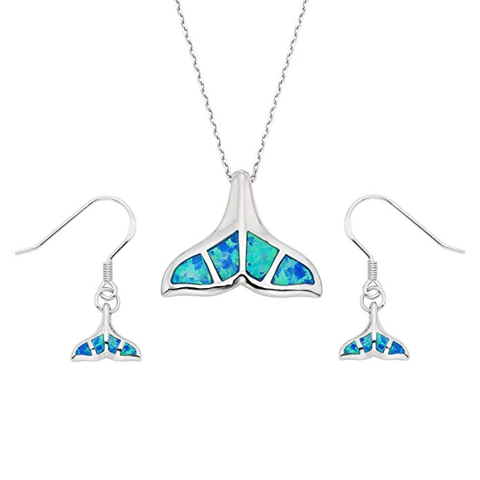 Sterling Silver Created Opal Whale Tail Earrings and Pendant Set with 18