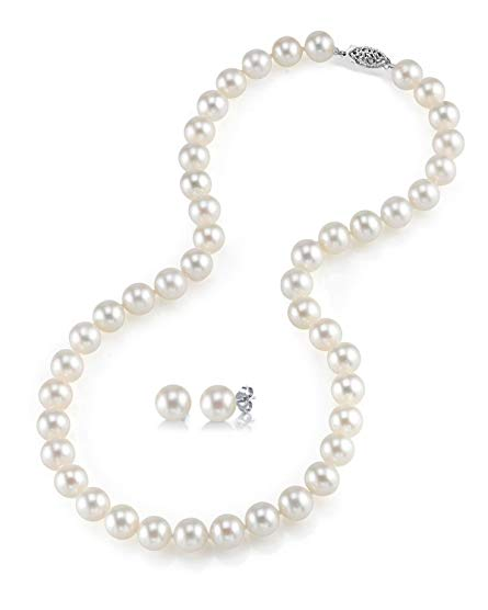 Sterling Silver White Freshwater Cultured Pearl Necklace & Earrings Set, 18