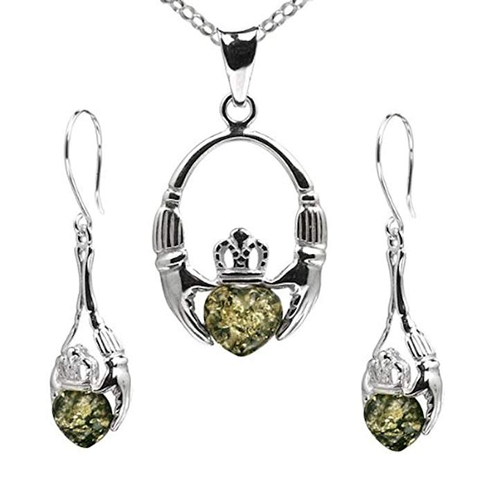 Green Amber Sterling Silver Claddagh Dangling Set Earrings Necklace 18