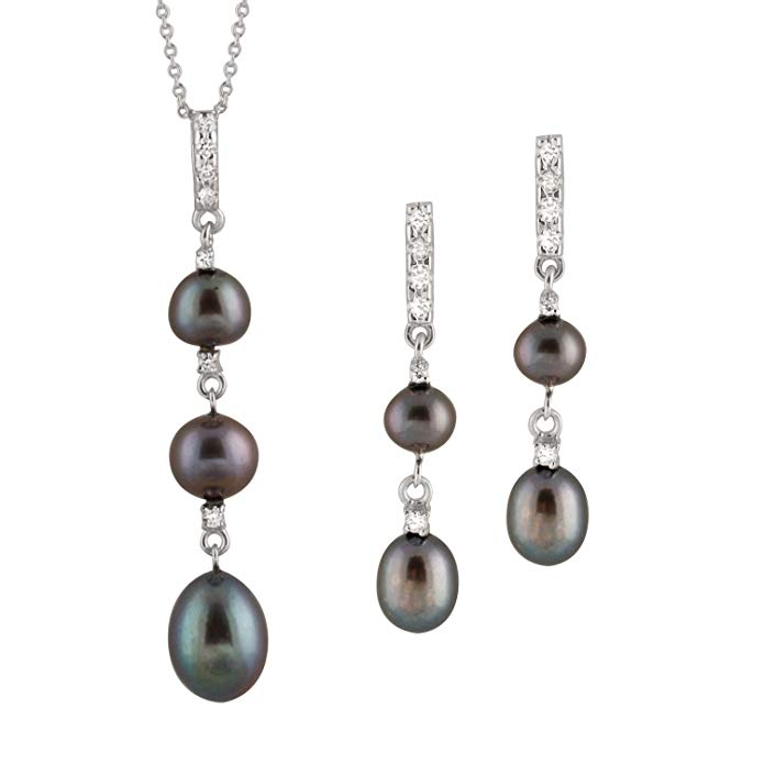 Handpicked AAA+ 6.5-7mm 9-10mm Freshwater Cultured Pearls Rhodium-Plated 925 Sterling Silver 17