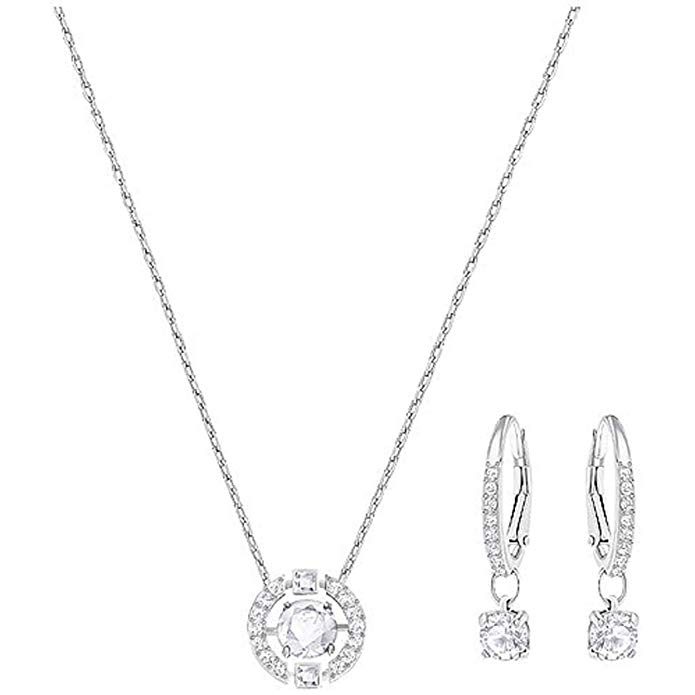 Swarovski Sparkling Dance Round Set, Necklace, Earrings, White 5279018, 14 7/8 in