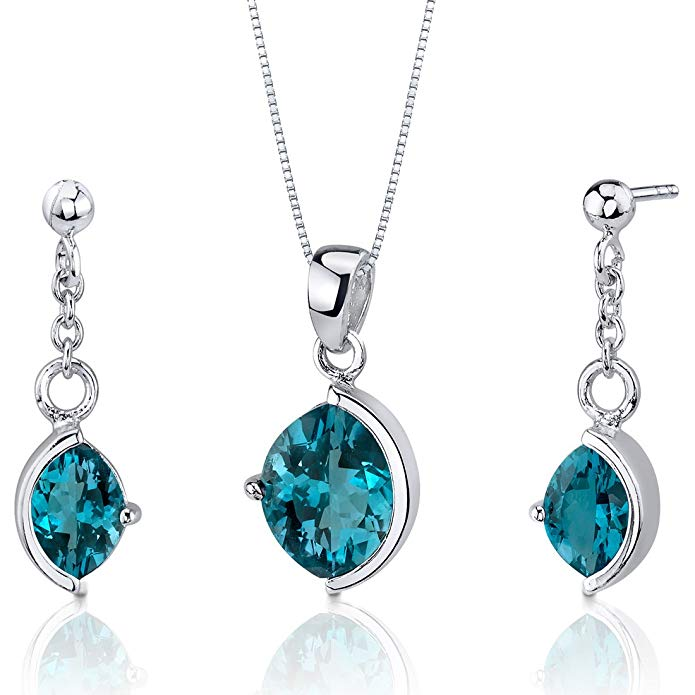 London Blue Topaz Pendant Earrings Set Sterling Silver Rhodium Nickel Finish Marquise Cut 5.25 Carats