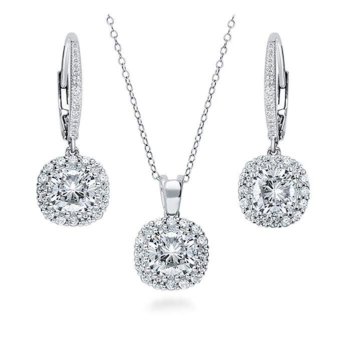 BERRICLE Rhodium Plated Sterling Silver Cushion Cut Cubic Zirconia CZ Halo Necklace and Earrings Set