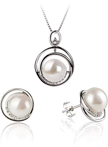 Kelly White 9-10mm AA Quality Freshwater 925 Sterling Silver Cultured Pearl Set
