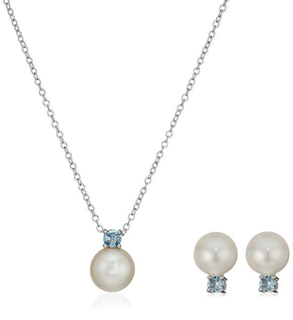 Sterling Silver Birthstone and Freshwater Cultured Pearl Pendant Necklace and Stud Earrings Jewelry Set