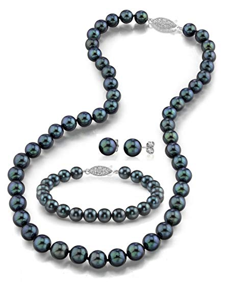 14K Gold 6.5-7.0mm Black Akoya Cultured Pearl Necklace, Bracelet & Earrings Set, 18