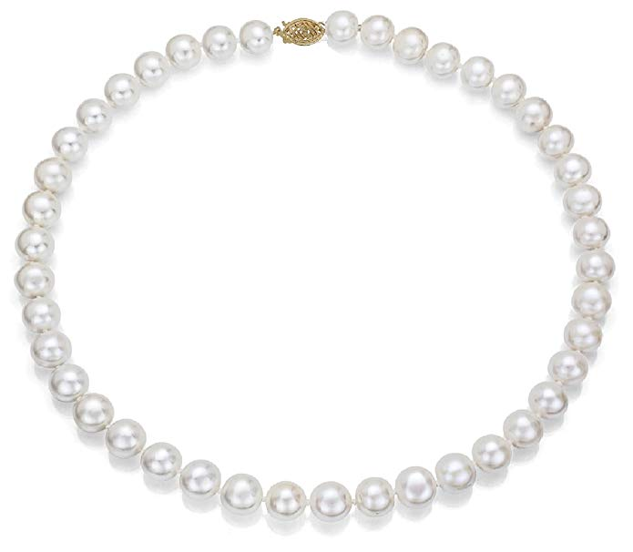 14k Gold, AAA Quality High Luster White Freshwater Cultured Pearl Necklace (7-8mm)