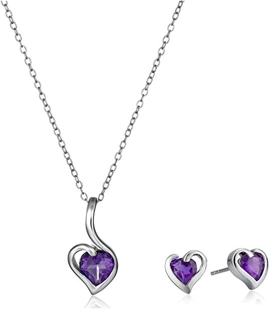 Sterling Silver Gemstone Heart Pendant Necklace and Earrings Jewelry Set