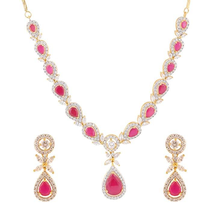 Swasti Jewels American Diamond CZ Zircon Fashion Jewelry Set Necklace Earrings Multi-Colour